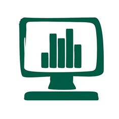 A green silhouette of a computer displaying a bar graph.