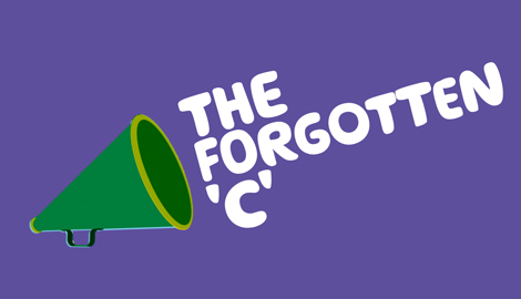 Text reads: the Forgotten C, on a purple background. On the left is an illustration of a megaphone.