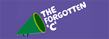 A cartoon of a green megaphone on a purple background. The words 'The forgotten C' are coming out of the megaphone in white bubble writing.