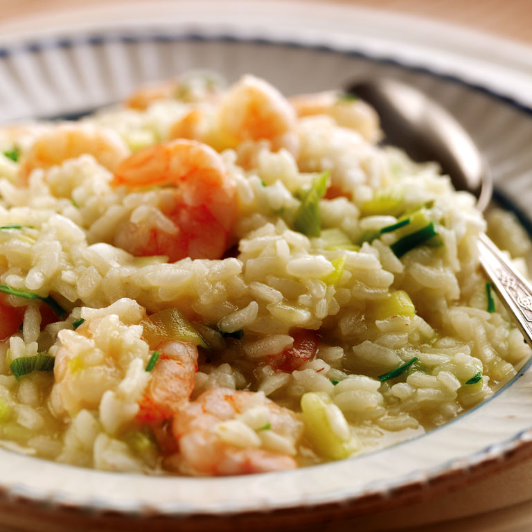 Spring onion, garlic and prawn risotto