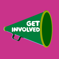 An illustrated megaphone with 'get involved' on the top.