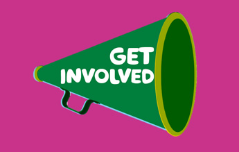 An illustration of a green megaphone with the words 'get involved' integrated in the middle.