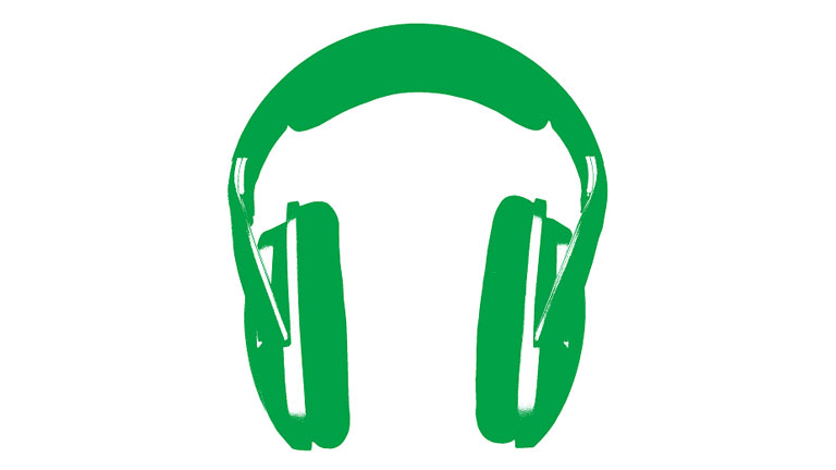A pair of green headphones