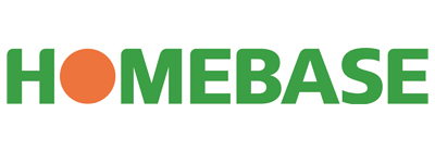 A rectangular logo, with the words 'Homebase' in green. The 'o' is an orange circle.