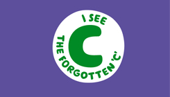 A round green and white illustration of the phrase 'I see the forgotten C' on a purple background
