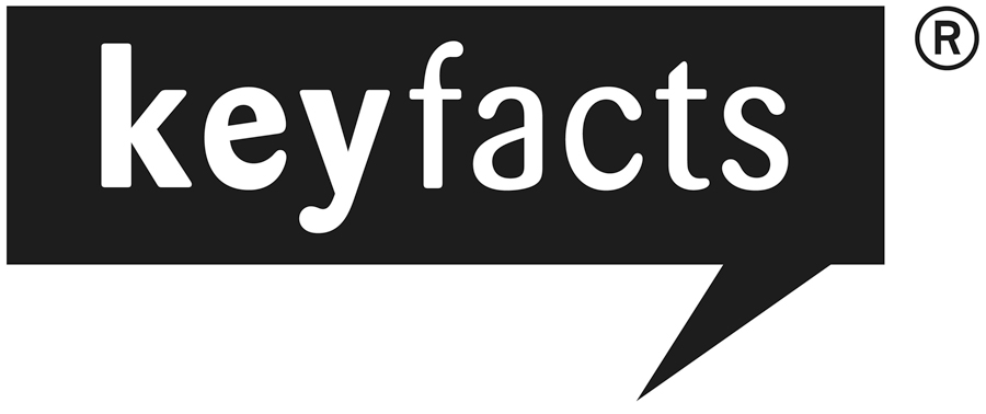 Key Facts logo - black speech bubble that reads 'key facts' in white.