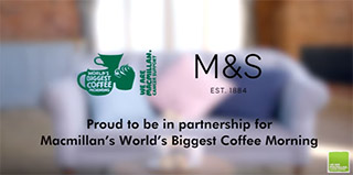 The worlds biggest coffee morning logo next to m&s with the words 'proud to be in partnership for Macmillan's World's Biggest Coffee Morning'