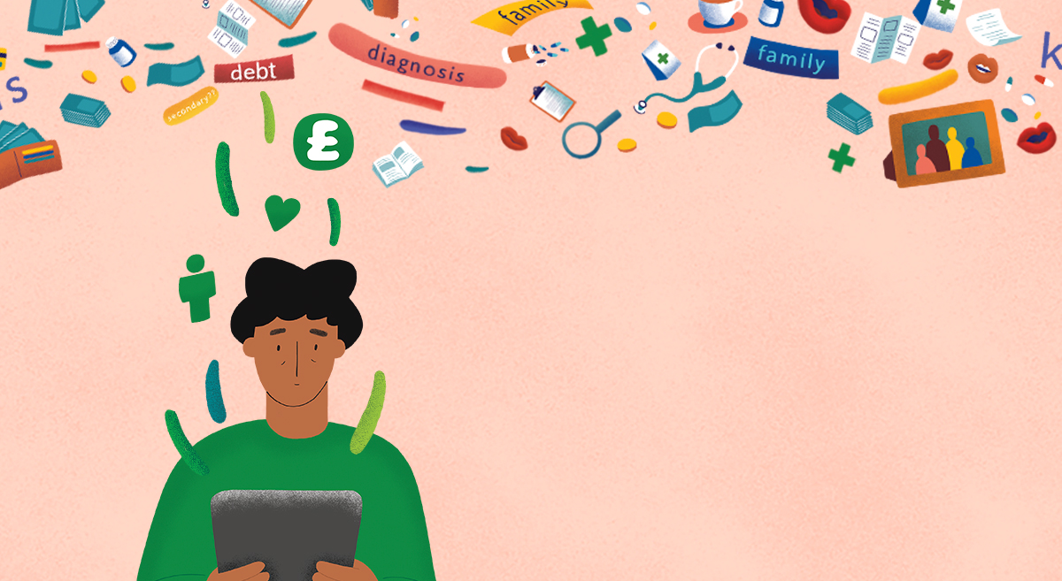 An illustration of a person holding a tablet, surrounded by icons representing the physical, financial and emotional impacts of a cancer diagnosis.