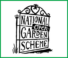 the words 'national garden scheme' in a cartoon gate with an 'open' sign hanging on it