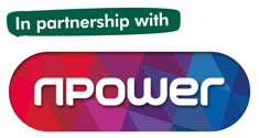The npower logo with the words 'In partnership with'.