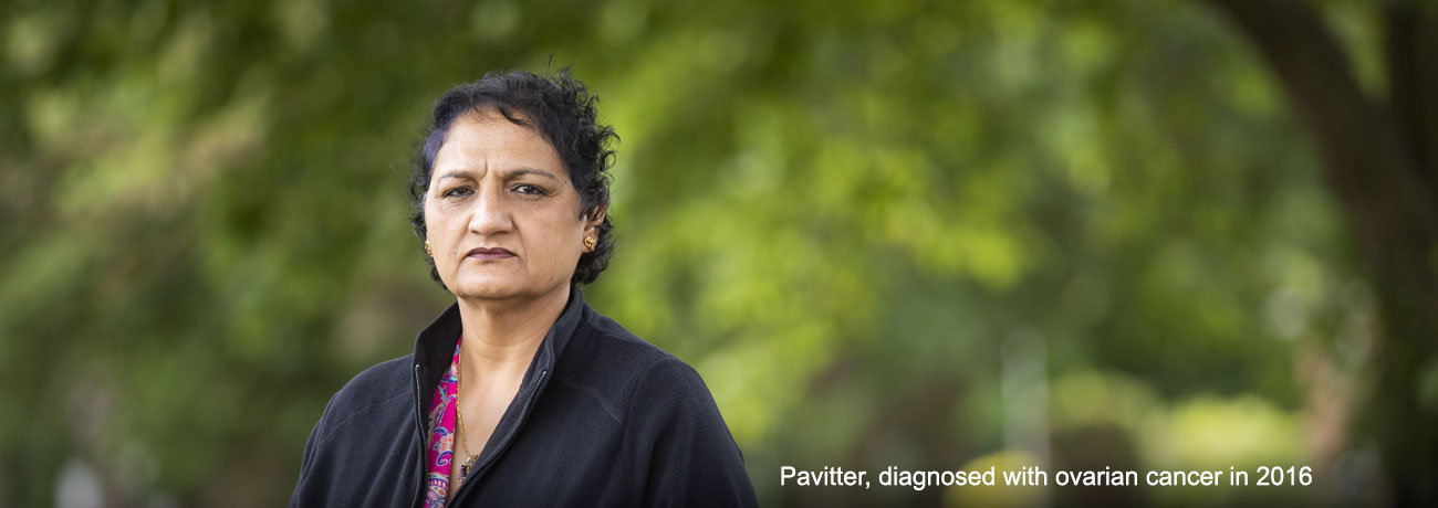 An Asian woman is facing the camera for her portrait. The caption reads 'Pavitter, diagnosed with ovarian cancer in 2016'.