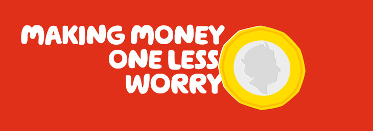 An illustration of a one pound coin with the title 'making money one less worry' integrated.