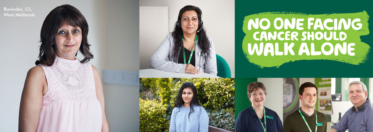 Ravinder - a person affected by cancer - is pictured alongside individual photographs of her daughter, a support line worker, and other Macmillan staff. The words 'No one facing cancer should walk alone' appear above.
