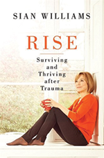 The front cover of a book called Rise. A woman (Sian Davies) sits in the bay of a window looking thoughtful.