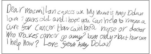Amy's letter: Dear Macmillan cancer UK. My name is Amy Dolan, I am 7 years old and I hope you can help to make a cure for cancer. How can I ne a nurse or doctor who makes cancer go away? I am only 7 but how can I help now? Love from Amy Dolan.