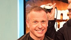 Celebrity presenter - Tim Lovejoy - having his head shaved.