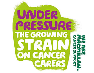 Text reads: 'Under pressure: The growing strain on cancer carers'.