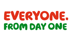 The text reads: 'Everyone. From Day One' in red and green
