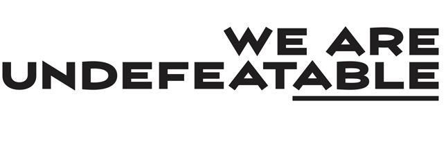 A logo. The text reads 'We Are Undefeatable'. The letters 'able' are underlined.