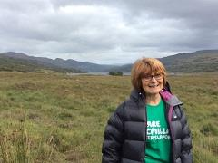 May Gilchrist at the start of the Walk Across Scotland route