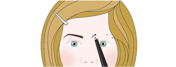 An illustration showing a woman who is preparing to redraw one of her eyebrows. The illustration shows that the woman has drawn two dots with an eyebrow pencil, where she plans to create an arch. This illustration shows step one in a four-step eyebrow redrawing process.