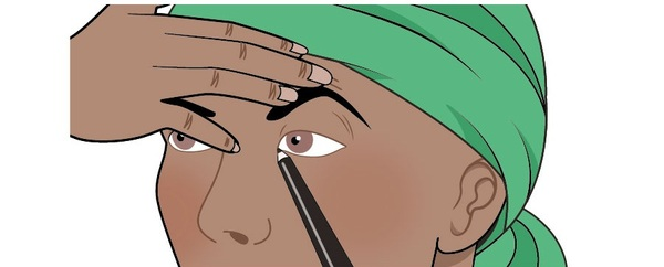 An illustration of a woman who is creating natural looking eyelashes using make-up. She is lifting her eyebrow to tighten the skin, which is making it easier for her to apply the make-up. She is using soft eyeliner. This illustration shows the first step of a two-step process for creating natural looking eyelashes.