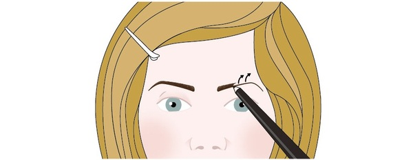 An illustration of a woman redrawing her eyebrows using an eyebrow pencil. She has already created a thin line across the arc of her eyebrow to guide her. She is now drawing from the centre of the eyebrow line outwards, using light, feathery strokes, to add more texture to the eyebrow. This illustration shows step three of a four-step process.