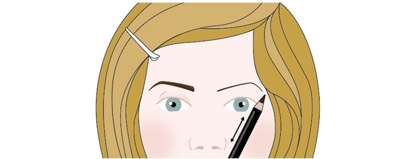 An illustration showing a woman who is redrawing one of her eyebrows using an eyebrow pencil. The illustration shows that she has placed the eyebrow pencil alongside her nose, and the drawn a thin line across the natural arc of her eyebrow line at a 45 degree angle. This illustration shows step two in a four-step process.