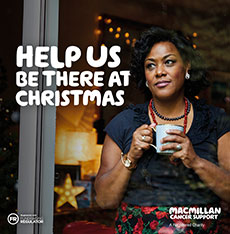 Image of a woman standing holding a cup. The headline reads 'help us be there at Christmas'