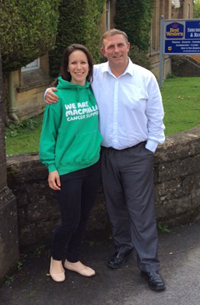 Mark Tobin and a woman in a green Macmillan hoodie.