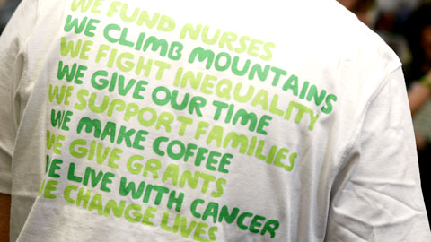 Macmillan T-shirt - 'We climb mountains. We give our time. We change lives.'