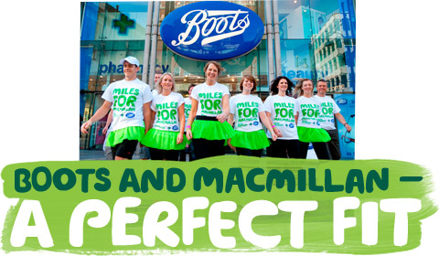 Boots staff in front of a store with the text 'Boots and Macmillan - a perfect fit'