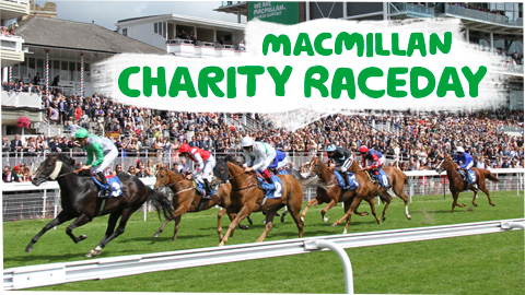 A horse race, with the words 'Macmillan Charity Raceday'.