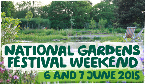 Garden with the words 'National Gardens Festival Weekend, 6 and 7 June 2015'