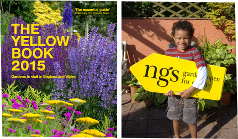 The Yellow Book, and a small boy holding a sign directing people to an open garden