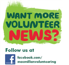 Facebook icon, with the words 'Want more volunteer news? Follow us.'