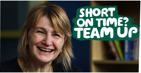 Marion, a Team Up volunteer. With the words 'Short on time? Team Up'.