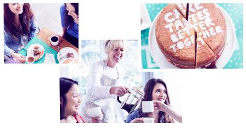A montage of photos of people drinking coffee and having a nice time at a Macmillan Coffee Morning