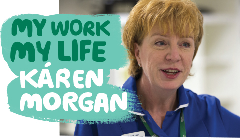 Káren Morgan with the words 'My work my life'