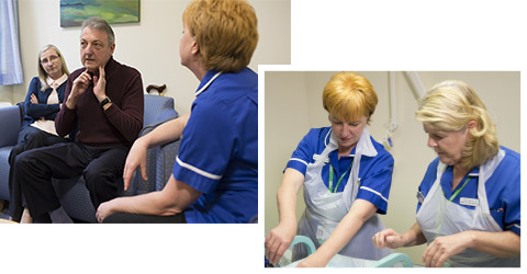 Two photos of Káren Morgan at work. In the first she's sitting with patients in hospital, and in the second she's working alongside a colleague in a treatment room.