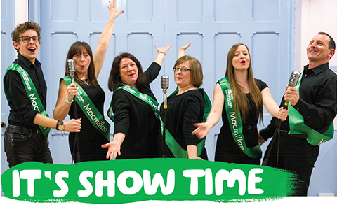 Six members of the theater group Showcase, with the words 'It's show time' below.